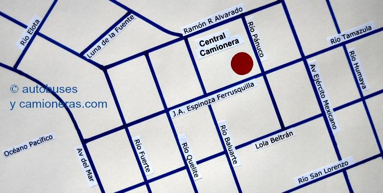Mapa de la Central Camionera de Mazatlán.