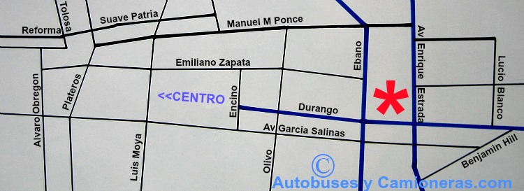 Mapa con ubicación de la Central Camionera de Fresnillo, ZAC.