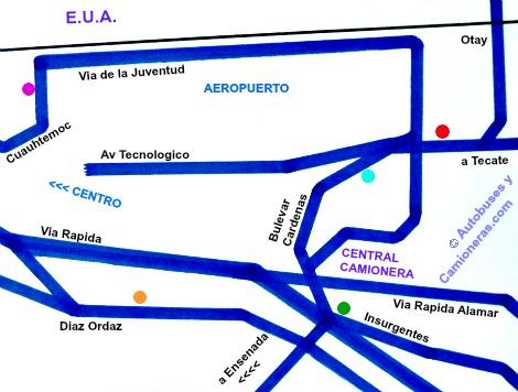 Mapa con Ubicación de Hoteles situados cerca de la Central  Camionera de Tijuana.