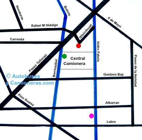 Mapa que muestra Hoteles ubicados cerca de la Central  Camionera de Toluca, México.