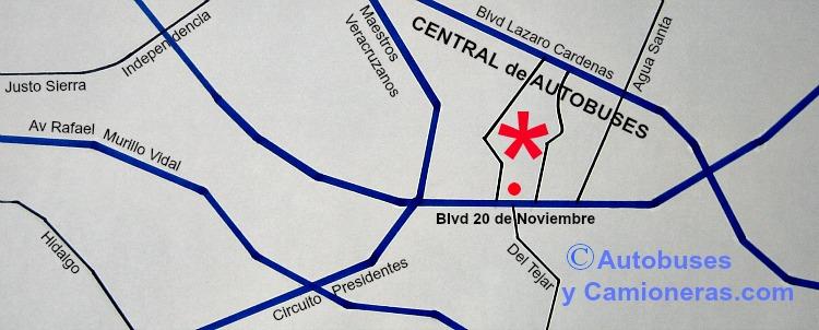 Mapa con ubicación de la Central Camionera de Autobuses de Xalapa, CAXA, en Veracruz.